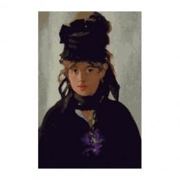Dama con violetas